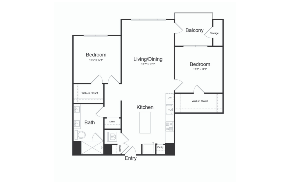 B1 2 Bed 1 Bath Floorplan
