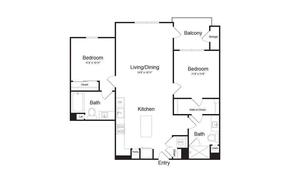 B1.1 2 Bed 2 Bath Floorplan