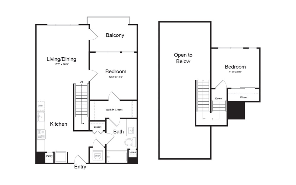 C1 2 Bed 1 Bath Floorplan