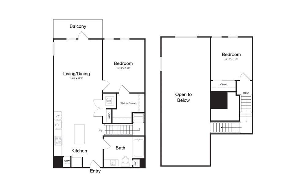 C2 2 Bed 1 Bath Floorplan