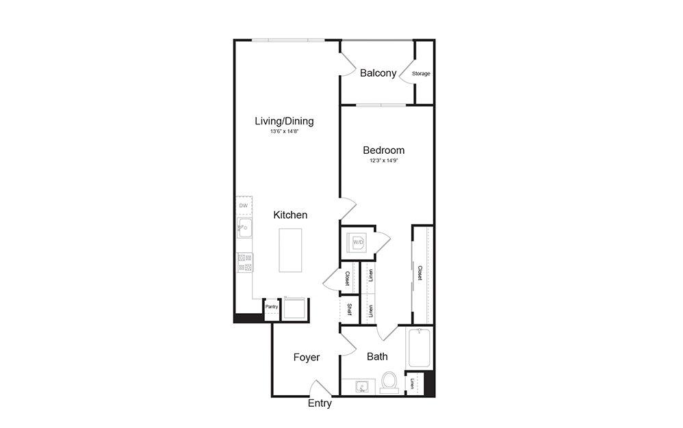 A4.3 1 Bed 1 Bath Floorplan