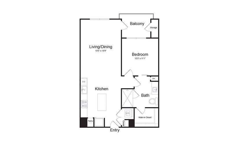 A3 1 Bed 1 Bath Floorplan
