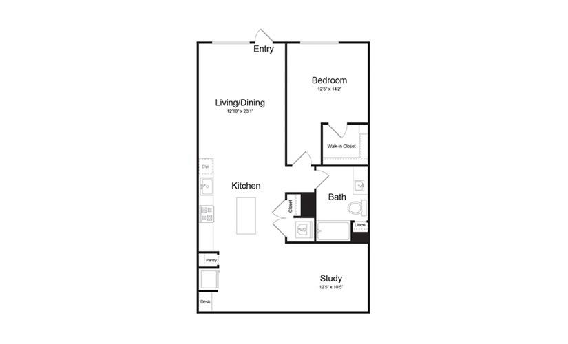 A5 1 Bed 1 Bath Floorplan