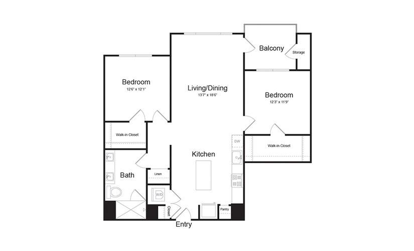 B1 2 Bed 1 Bath Floorplan