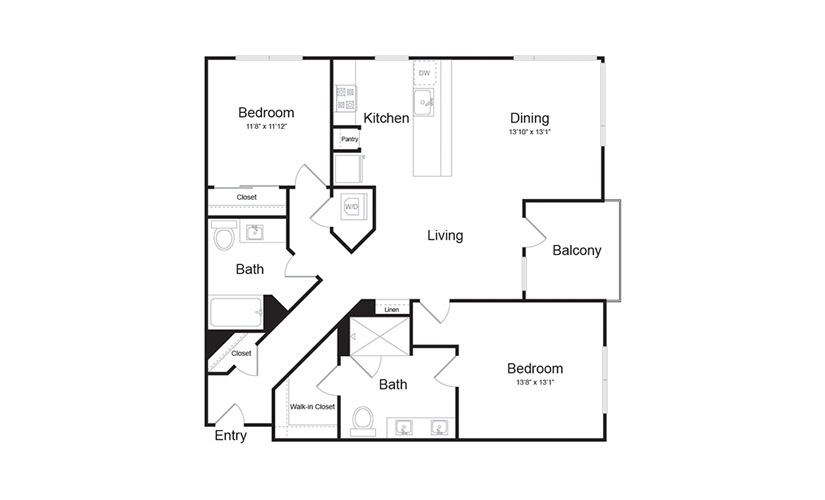B5 2 Bed 2 Bath Floorplan